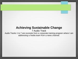 Achieving Sustainable Change